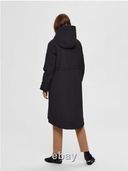 RRP £200 SELECTED FEMME SLFLORY MIDI COAT Black Long Puffer Quilted Parka UK 10
