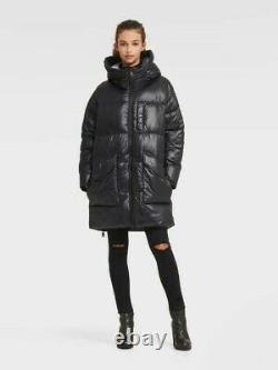 RRP £230 DKNY JEANS Black Size M Ladies Shiny Oversized Long Puffer Coat Jacket