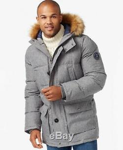 RRP £270 TOMMY HILFIGER MENS PARKA COAT Grey Quilted Long Puffer Jacket LARGE