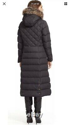 Ralph Lauren Womens Down Fur Hooded Quilted Long Coat Black Sz M New No Tag