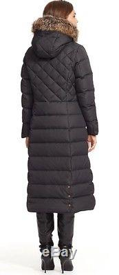 Ralph Lauren Womens Down Fur Hooded Quilted Long Coat Black Sz Small New W Tags