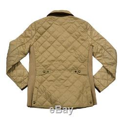 Ralph Lauren Womens Puffer Jacket Quilted Long Sleeve Crest Logo Coat S M Beige