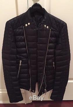 Rare Balmain 2012 Mens Black Quilted Down Long-Sleeve Biker Jacket Coat 48/38