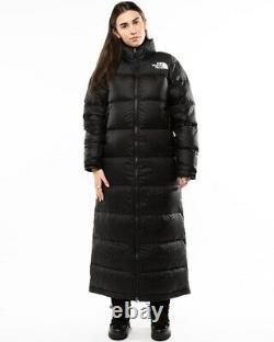 Rare The North Face Nuptse Duster Shiny Black Down Puffer Jacket Coat Size XS