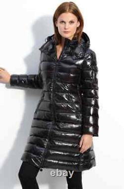 Rare Vintage Moncler Moka Shiny Black Down Puffer Jacket Coat Size 2