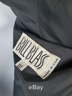 Rare Vtg Bill Blass Down Filled Puffer Jacket Coat USA Size 10 Swing Purple Long