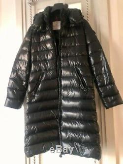 Rrp £1400 Moncler Womens Authentic Long Black Down Jacket Coat Size M