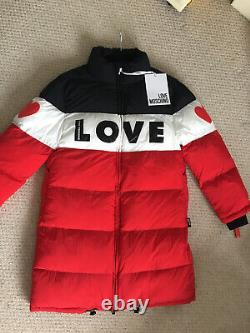 Rrp £560 Love Moschino Quilted Coat Uk Size M 12/14
