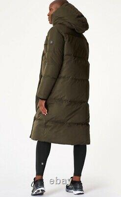 SOLD OUT Sweaty Betty cocoon down long puffer wrap coat forest green XS