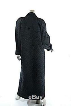 SONIA RYKIEL Black Polyester Satin Quilt Long Duster Coat Rhinestone Trim Sz OS
