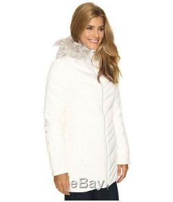 SPYDER White Timeless Quilted Padded Long Faux Fur Down Parka Coat M 12 14