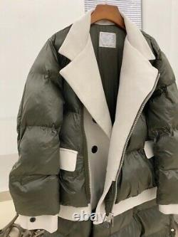 Sacai Contrast Panel Shell Puffer Long Coat Jacket Size 2