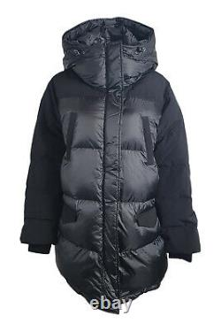 THE KOOPLES Black Bi Material Long Down Filled Puffer Jacket (2 UK 12 EU 38)