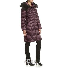 Tahari Size XL Quilted Down Feather Coat Faux Fur Trim Hooded Long Puffer Coat