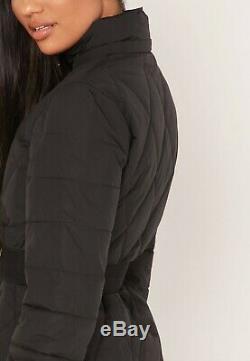 Ted Baker Black Winiy Diamond Quilted Puffer Padded Fur Hooded Belt Long Coat