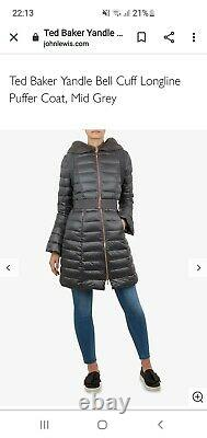 Ted Baker Yandle Bell Cuff Longline Puffer Coat, Mid Grey Size 3