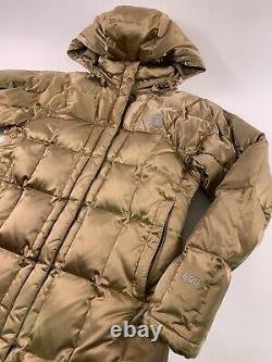 The North Face 600 Down Fill Gold Long Puffer Hooded Parka Coat Jacket Size L