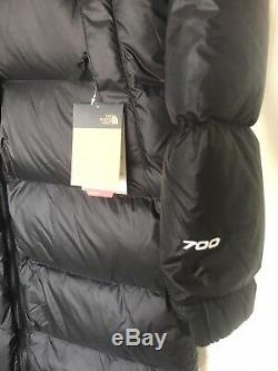 The North Face Womans Black Yellow TNF Nuptse Duster 700 Coat Size M NWT $420