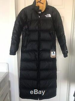The North Face Womans Black Yellow TNF Nuptse Duster 700 Coat Size XS NWT $420