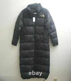 The North Face Women MED Nuptse Relax Fit Duster Goose Down Long Black Coat NWT