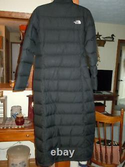 The North Face Womens Extra Long Maxi Triple C Down M Medium Black Coat Jacket