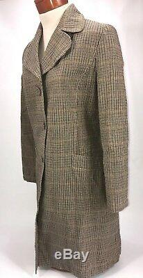 Thomas Burberry Car Coat Plaid Tartan Long Quilted Cotton Big Buttons Womens Med