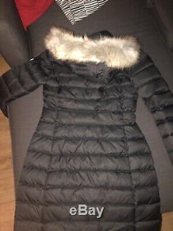 Tommy Hilfiger Denim Down Puffer Fur Jacket Black Womens Small Long