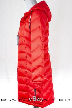 Tommy Hilfiger Quilted Hooded Packable Long Jacket Down Puffer Coat M Red