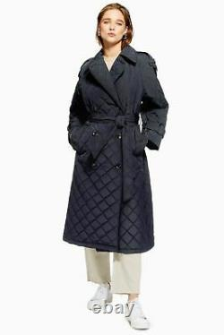 Topshop Quilted Trench Coat by Boutique Size S RRP £180.00