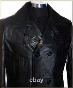 U-BOAT Black Men's WW2 German Kriesgmarine Military Cowhide Leather Long Coat