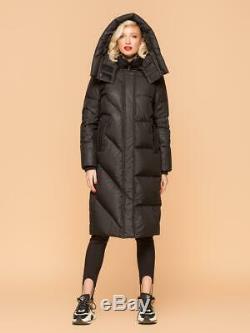 UDEKASI Women's Goose Down Black Pearl Long Hooded Parka Coat Waterproof Fabric