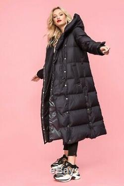 UDEKASI Women's Goose Down Dark Blue Long Hooded Parka Coat Waterproof Fabric