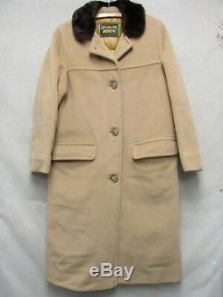 V6783 Eddie Bauer Brown Wool Button Up Down 70's Long Coat Women's M