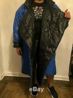 VINTAGE NORMA KAMALI OMO Black and Blue Reversible Sleeping Bag Coat Long Jacket