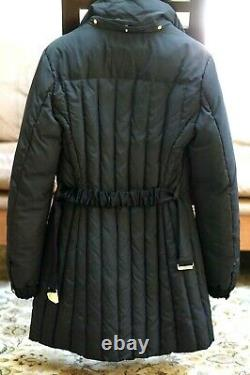 Versace Women's Black Down Puffer Quilted Parka Coat withMedusa Buckle Size Medium
