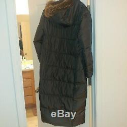 Via Spiga XL brown long parka puffer coat REAL raccoon trim puff / hood