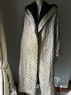 Vintage 1960s Gold Lame Long Maxi Warm Quilted Padded Coat Opera Theatre Coat