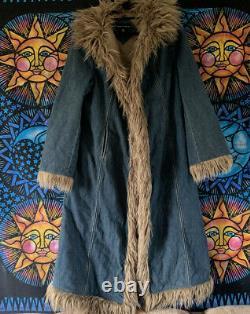 Vintage Dorothy perkins Denim Afghan Coat Penny Lane Hippy Jacket UK18