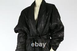 Vintage I MAGNIN Black Genuine Fur Lining Long Maxi Coat Jacket Size L