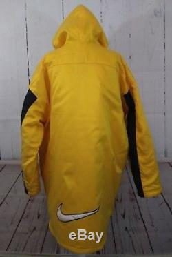 7a5d0b93e6 Vintage Nike Long Coat Jacket Mens Large Yellow Hooded Full Zip Quilted  Lining