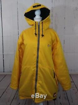 Vintage Nike Long Coat Jacket Mens Large Yellow Hooded Full Zip Quilted Lining