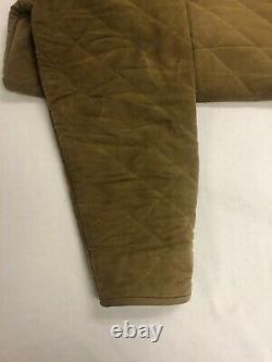 Vintage Polo Ralph Lauren Quilted Long Coat Jacket Medium Beige Corduroy Collar