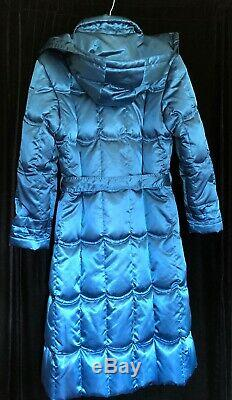 Vintage Yililan Satin Blue Long Midi Down Filled Quilted Coat With Hood Zip Front