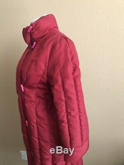 Vtg Long Down Puffer Quilted Coat Jacket Pink Red Women Handmoor 80s 6 Small