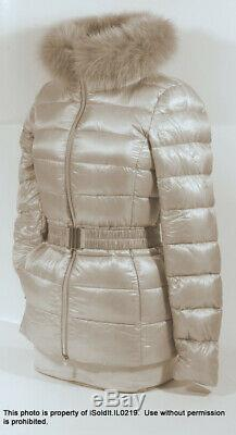 WOMENS HERNO ICONICO CHAMPAGNE PUFFY DOWN JACKET With FUR COLLAR SZ 38