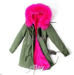 Winter Warm Thicken Fur Collar Mid Long Parka Coats Quilted Jacket Overcoats HOT