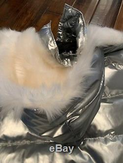Women Silver Oversized Long Goose Down Quilted Puff Coat With Sheep Hood Size M