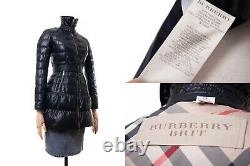 Women's BURBERRY Brit Black Belted Quilted Down Puffer Jacket Coat Size XS