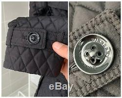 Women's Burberry London Black Check Belted Long Quilted Coat Jacket UK-8 US-6
