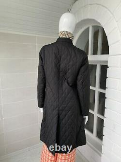 Women's Burberry London Black Quilted Coat Jacket Long Size S
